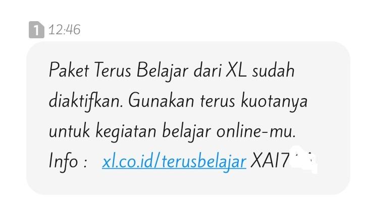 sms notifikasi bantuan kuota gratis